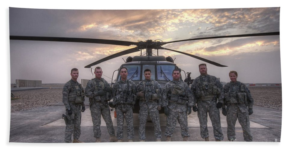 Tikrit Bath Sheet featuring the photograph Group Photo Of Uh-60 Black Hawk Pilots by Terry Moore