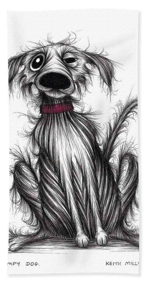 Grumpy Dog Bath Towel featuring the drawing Grumpy Dog by Keith Mills