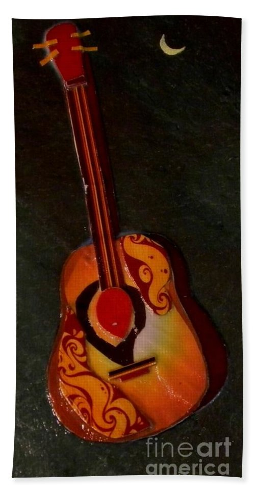 Guitar Hand Towel featuring the mixed media Guitar by Owl's View Studio