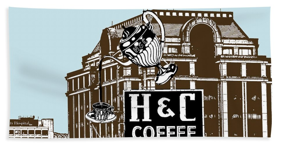 H Hand Towel featuring the photograph H And C Coffee Sign Roanoke Virginia by Teresa Mucha