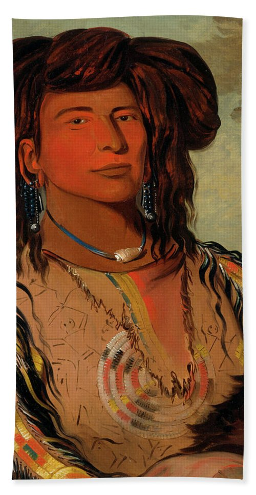 Native America Bath Sheet featuring the painting Ha-won-je-tah, One Horn, Head Chief Of The Miniconjou Tribe by George Catlin