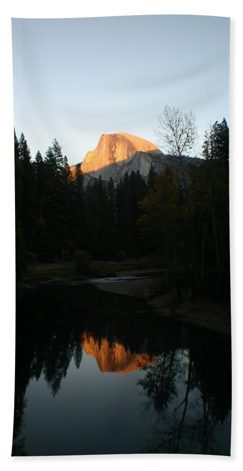 Half Dome Hand Towel featuring the photograph Half Dome Sunset by Travis Day