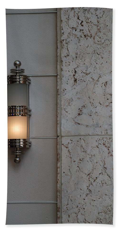 Sconce Hand Towel featuring the photograph Half Lit Wall Sconce by Rob Hans