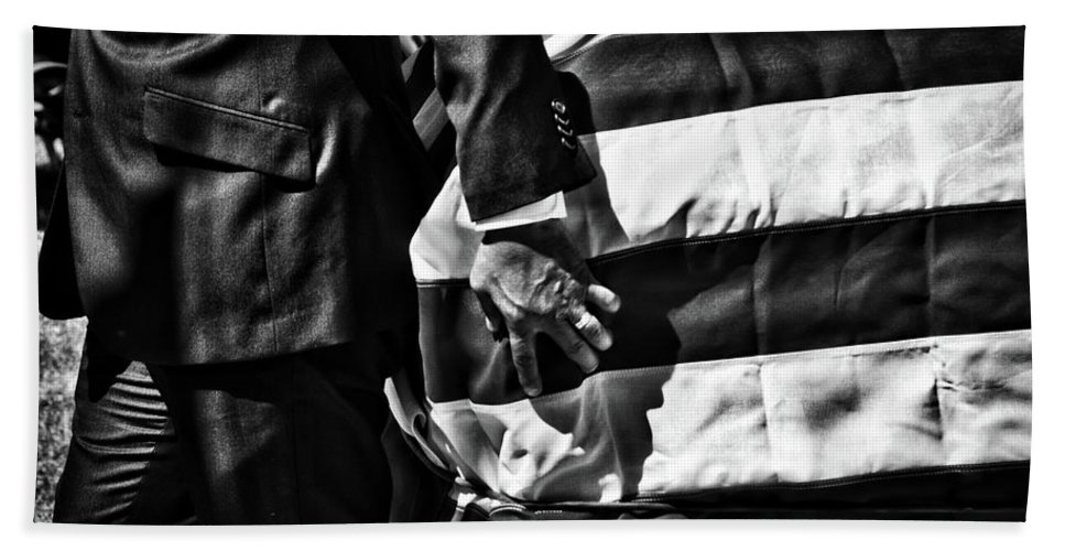 Black And White Bath Sheet featuring the photograph Hand In Flag by Douglas Craig