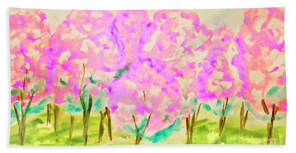 Art Bath Sheet featuring the painting Hand Painted Picture, Spring Garden by Irina Afonskaya