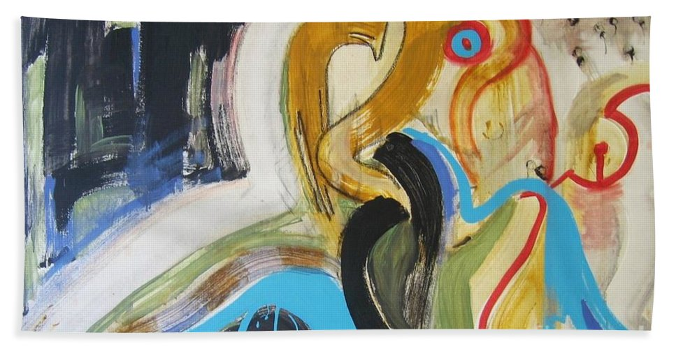 Abstract Art Paintings Bath Towel featuring the painting Hard To Escape by Seon-Jeong Kim