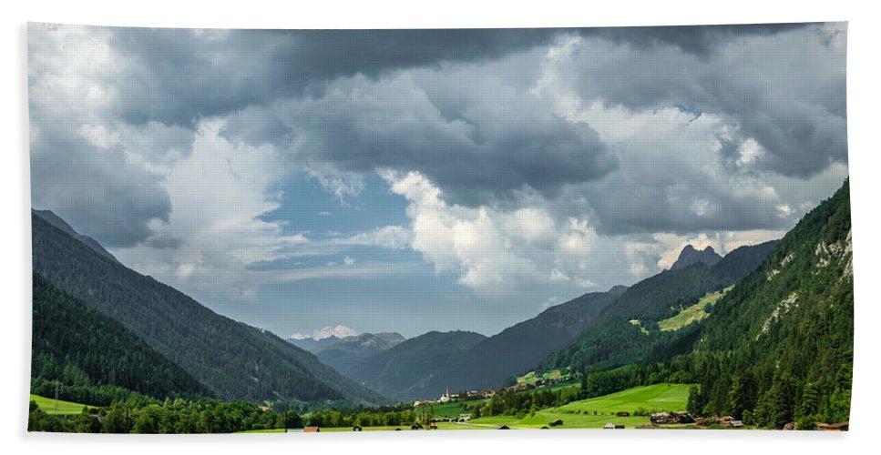 Austria Bath Sheet featuring the photograph Hay Barns In Oberinntal, Pettneu Am Arlberg by Ludwig Riml