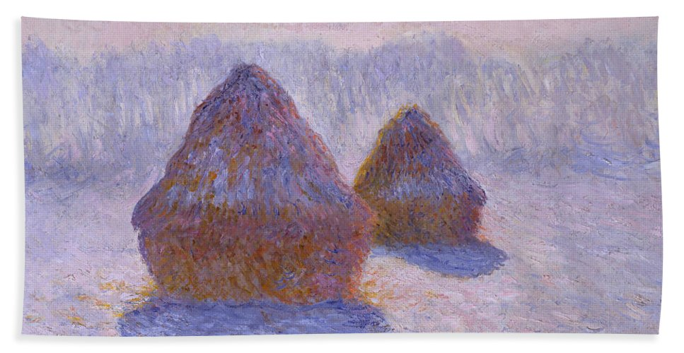 Claude Monet Hand Towel featuring the painting Haystacks, Snow And Sun Effect by Claude Monet