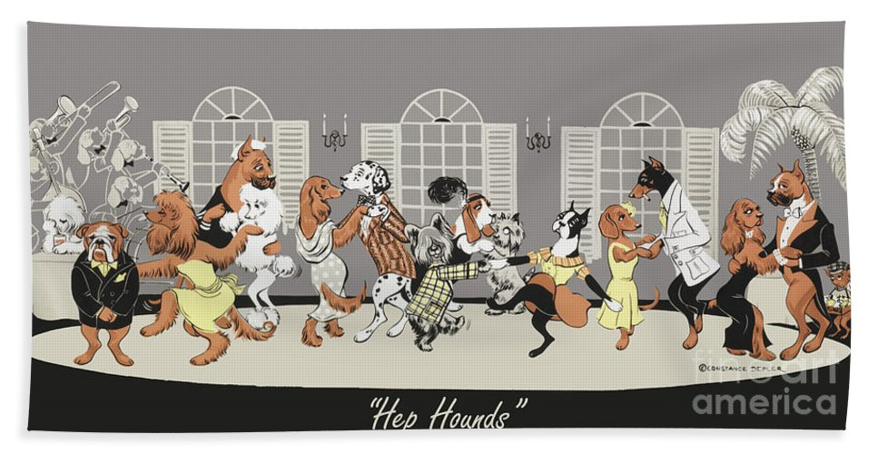 Dogs Bath Towel featuring the painting Hep hounds by Constance Depler
