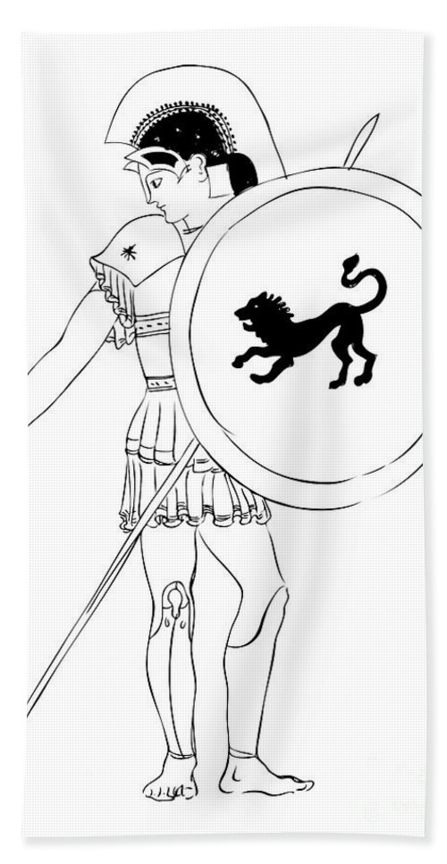 Vector Bath Sheet featuring the drawing hero - warrior of ancient Greece by Michal Boubin