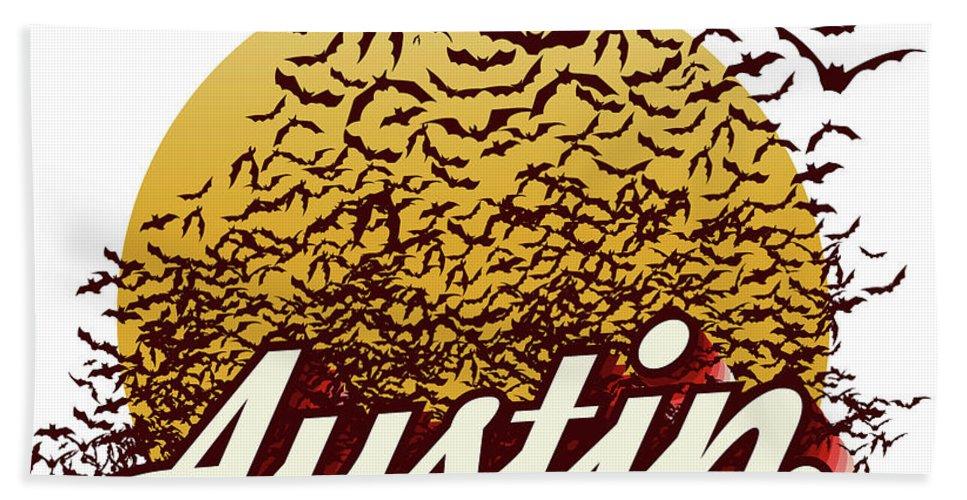 Austin Bats Hand Towel featuring the photograph Congress Avenue Bridge Bats Take Flight In Austin Texas by Herronstock Prints