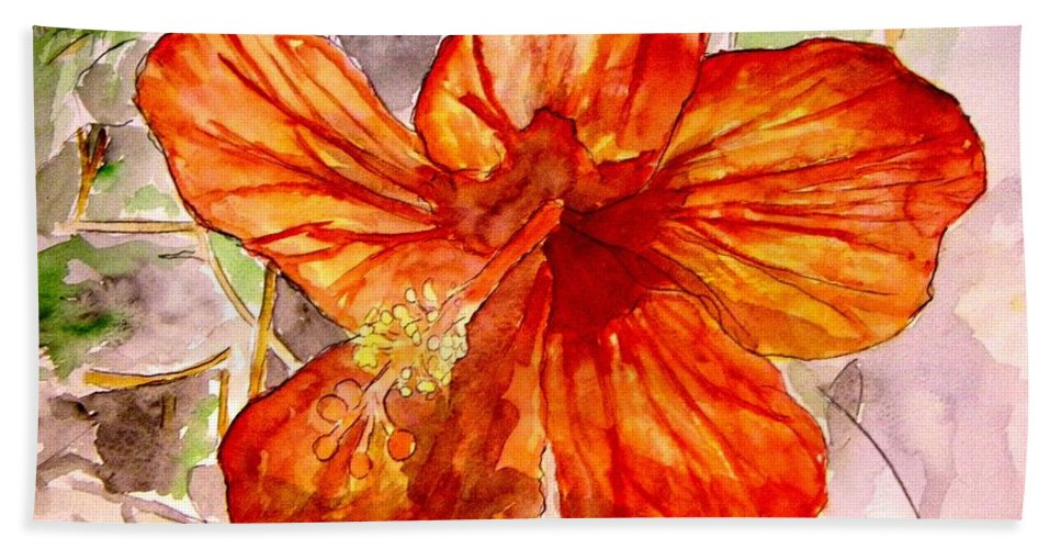 Hibiscus Bath Sheet featuring the painting Hibiscus 2 by Derek Mccrea