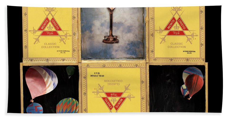 Cigar Boxes Hand Towel featuring the mixed media High by Jaime Becker