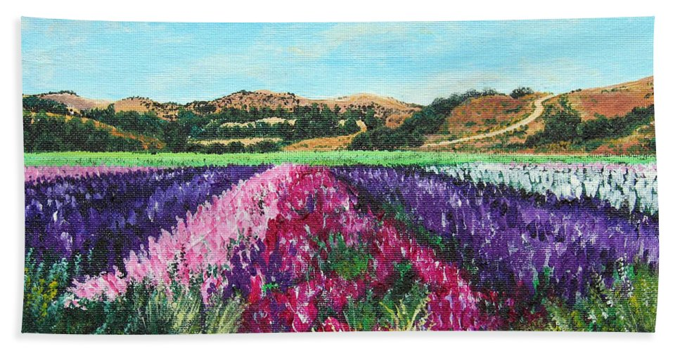 Highway 246 Hand Towel featuring the painting Highway 246 Flowers 3 by Angie Hamlin