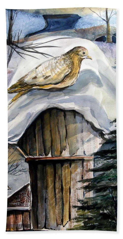 Bird Hand Towel featuring the painting His Eye Is On The Sparrow by Mindy Newman