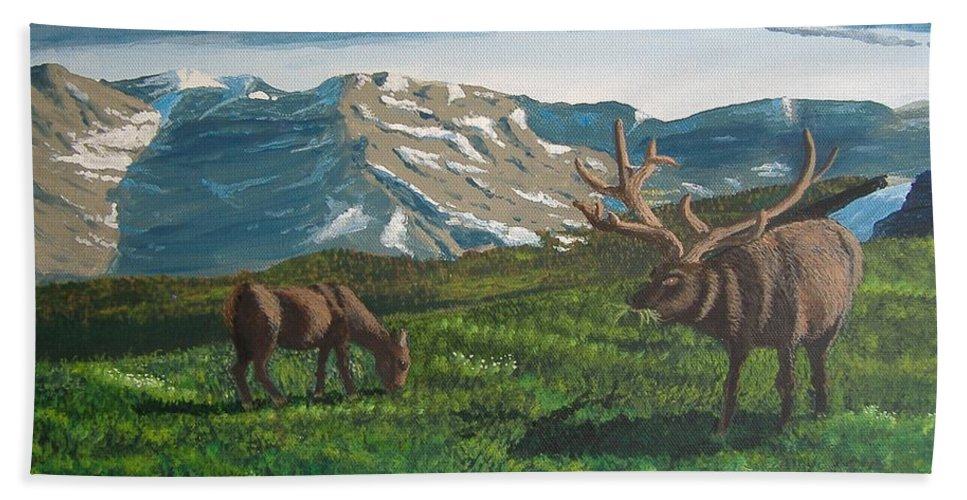 Elk Hand Towel featuring the painting His Majesty by Norm Starks