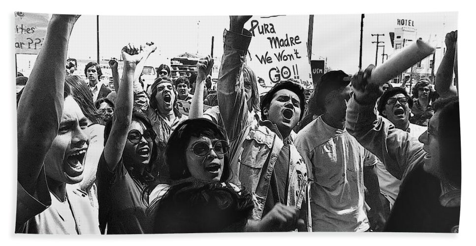 Hispanic Anti-viet Nam War Rally Tucson Arizona 1971 Bath Sheet featuring the photograph Hispanic Anti-viet Nam War Rally Tucson Arizona 1971 by David Lee Guss