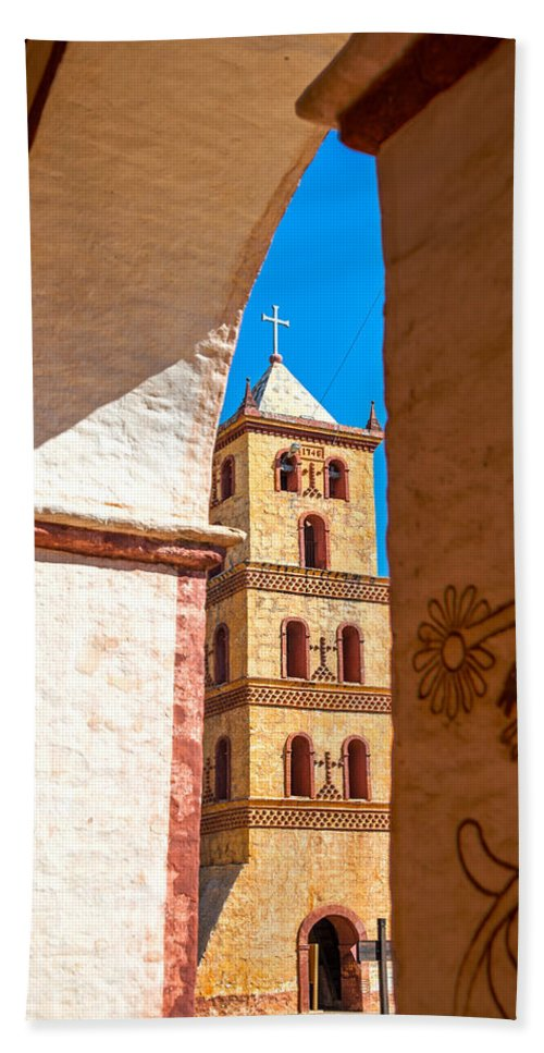 San Jose Hand Towel featuring the photograph Historic Stone Bell Tower by Jess Kraft