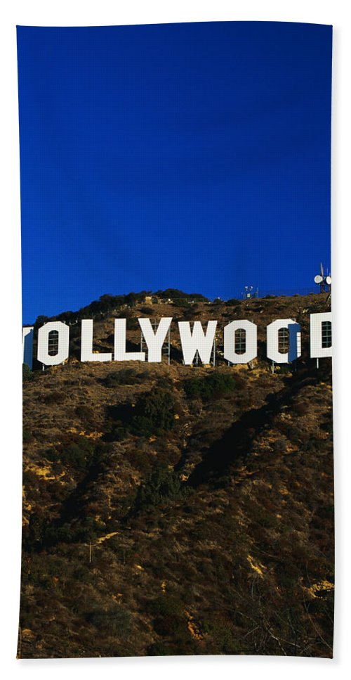 Photography Bath Sheet featuring the photograph Hollywood Sign Los Angeles Ca by Panoramic Images