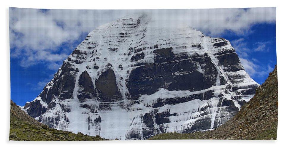 Tibet Bath Towel featuring the photograph Holy Kailas North Slop Himalayas Tibet Yantra.lv by Raimond Klavins
