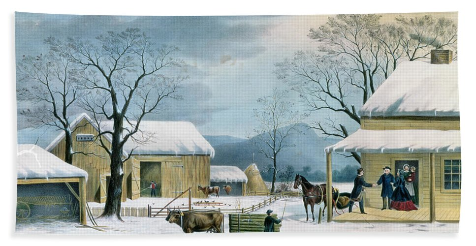 Thanksgiving Bath Sheet featuring the painting Home To Thanksgiving by Currier and Ives