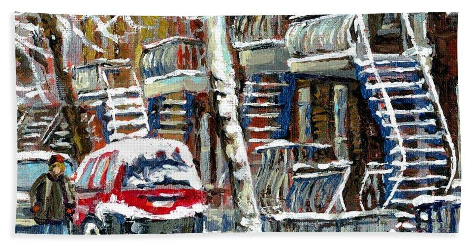 Original Montreal Paintings For Sale Hand Towel featuring the painting Achetez Les Meilleurs Peintures De Scenes De Montreal En Hiver Winter Scene Paintings by Carole Spandau