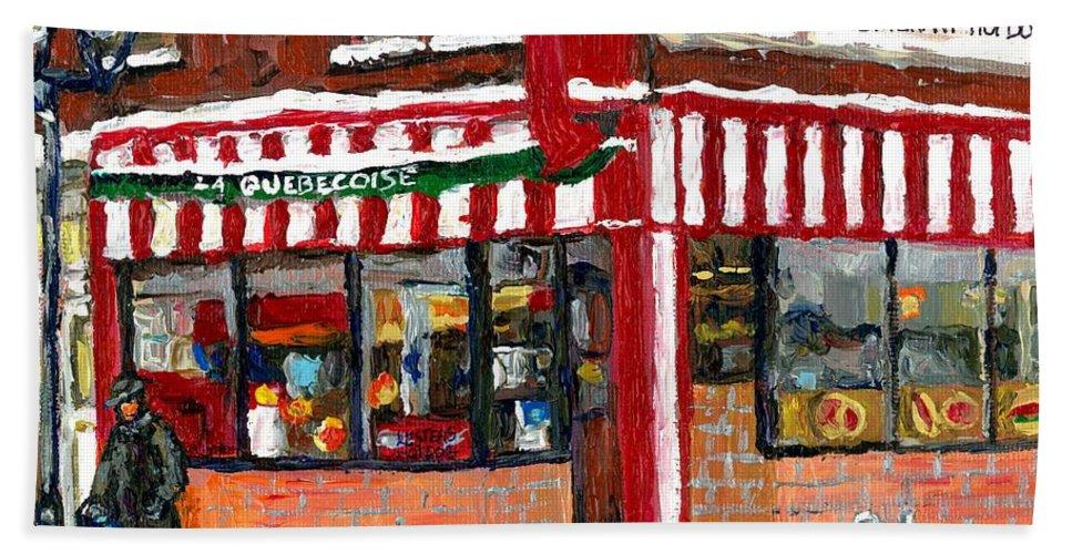 Original Montreal Paintings For Sale Hand Towel featuring the painting Original Montreal Paintings For Sale Peintures A Vendre Restaurant La Quebecoise Deli by Carole Spandau
