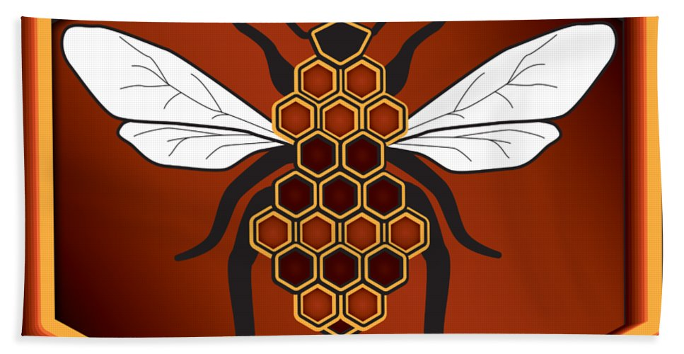 Cartoon Hand Towel featuring the digital art Honeycomb Bee by Pelo Blanco Photo