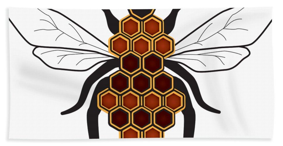 Cartoon Hand Towel featuring the digital art Honeycomb Bee Sans Border by Pelo Blanco Photo
