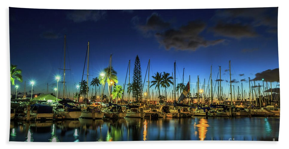 Ala Wai Harbor Bath Towel featuring the photograph Honolulu Harbor By Night by Benny Marty