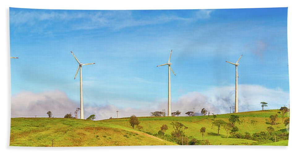 Wind Bath Sheet featuring the photograph Horizontal Axis Wind Turbines. Panorama by MotHaiBaPhoto Prints