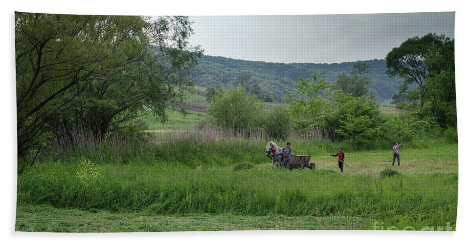Malancrav Bath Sheet featuring the photograph Horsedrawn Haycart, Transylvania 2 by Perry Rodriguez