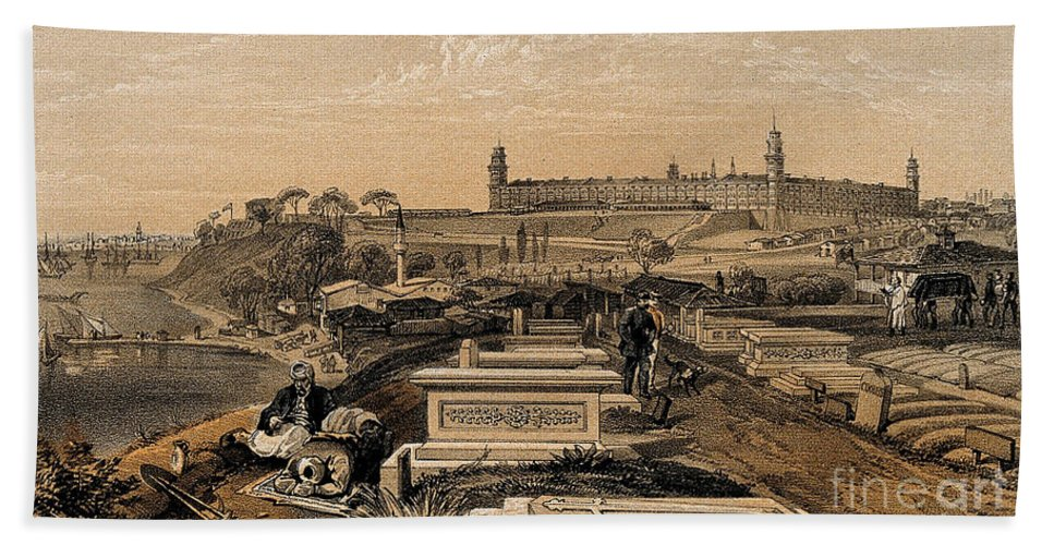 Historic Hand Towel featuring the photograph Hospital And Cemetery At Scutari, C.1854 by Wellcome Images