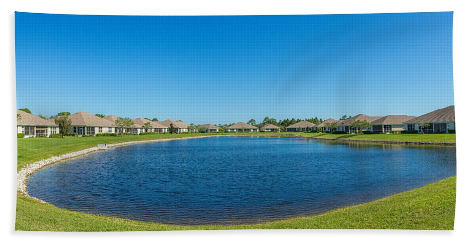 Photography Bath Sheet featuring the photograph Houses Around Small Lake In North Port by Panoramic Images