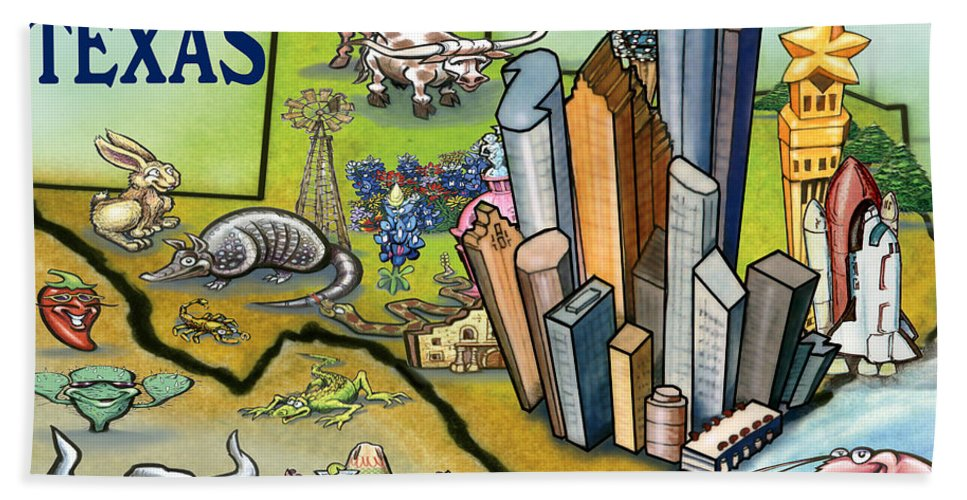 Houston Hand Towel featuring the digital art Houston Texas Cartoon Map by Kevin Middleton