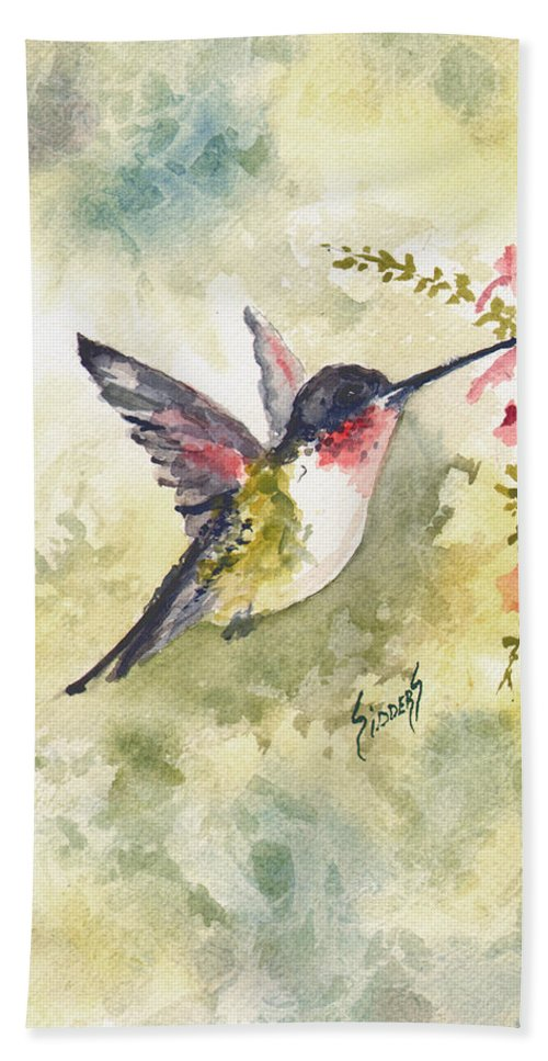 Hummingbird Hand Towel featuring the painting Hummingbird by Sam Sidders