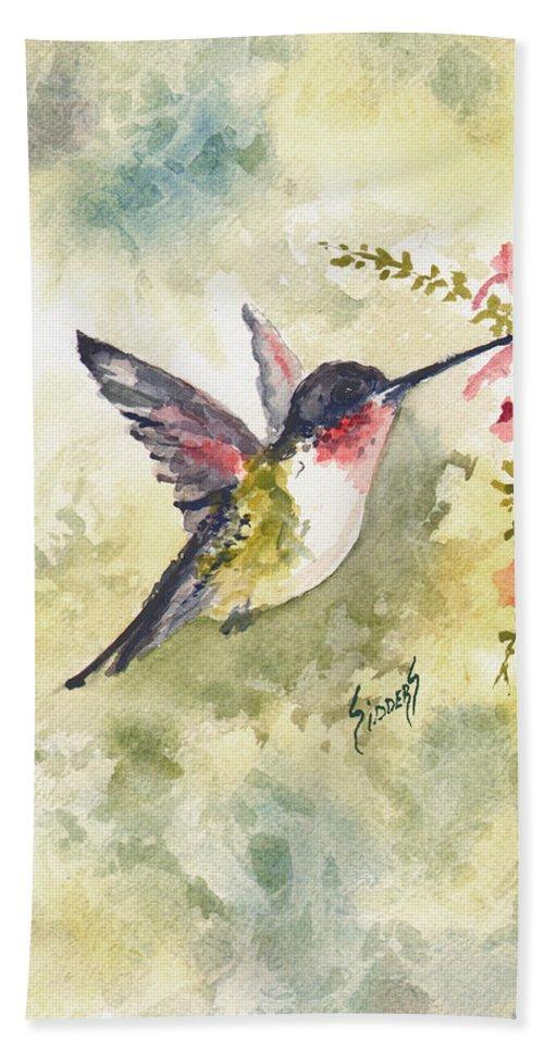 Hummingbird Bath Towel featuring the painting Hummingbird by Sam Sidders