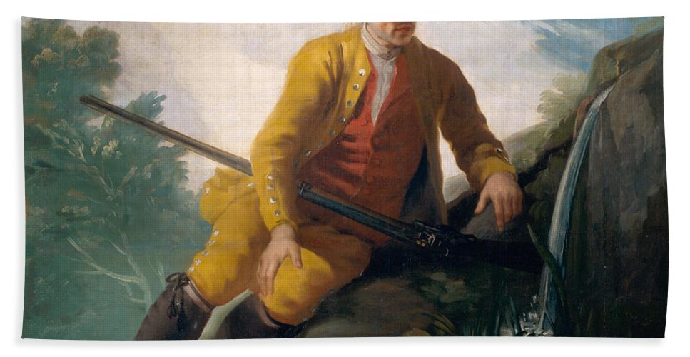 Europe Hand Towel featuring the painting Hunter Beside A Spring by Francisco Goya