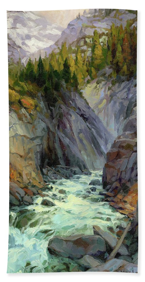 River Hand Towel featuring the painting Hurricane River by Steve Henderson