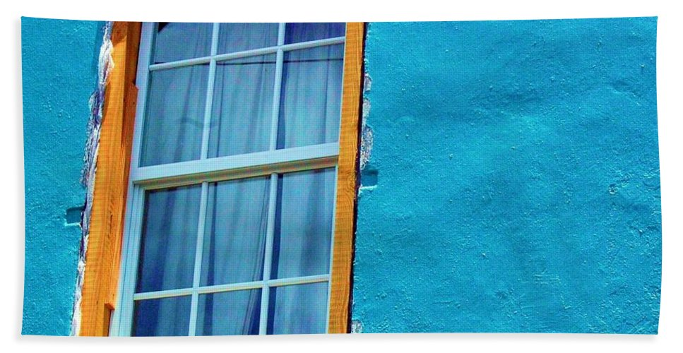 Window Hand Towel featuring the photograph I Got The Blues by Debbi Granruth