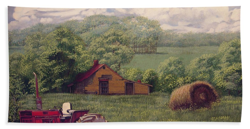 Landscape Bath Sheet featuring the painting Idle In Godfrey Georgia by Peter Muzyka