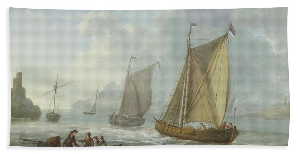 Moreth Bath Sheet featuring the painting Idyllic Lake Shore With Two Boats by Moreth