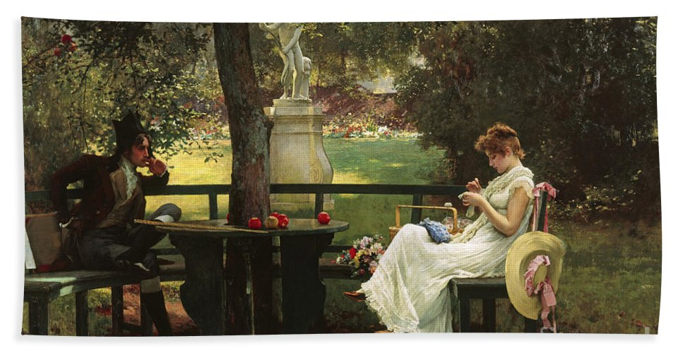 In Love (oil On Canvas) By In Love (oil On Canvas) By Marcus Stone (1840-1921) Bath Towel featuring the painting In Love by Marcus Stone