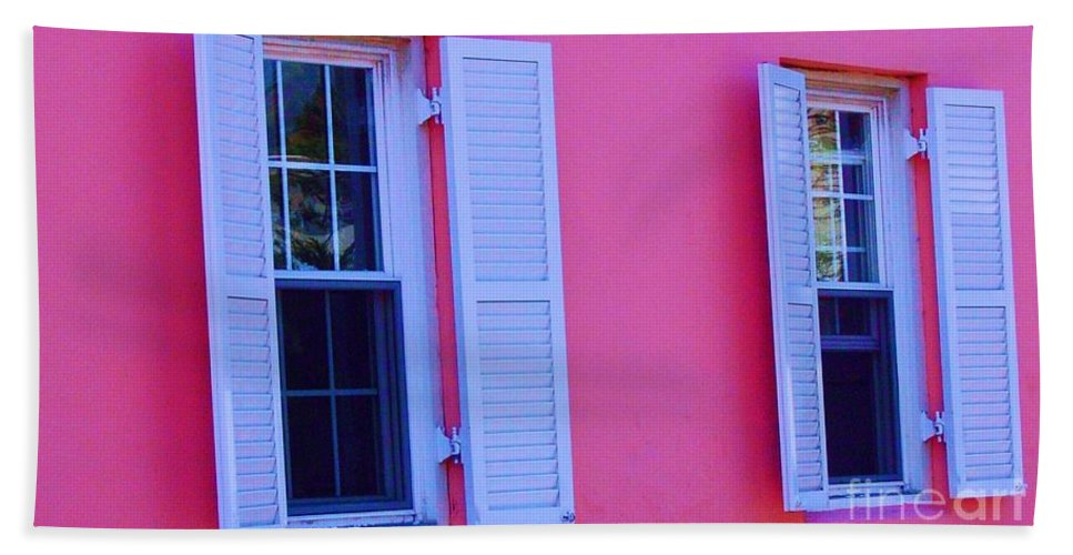 Shutters Hand Towel featuring the photograph In The Pink by Debbi Granruth