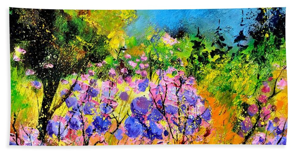 Flowers Hand Towel featuring the painting In The Wood by Pol Ledent