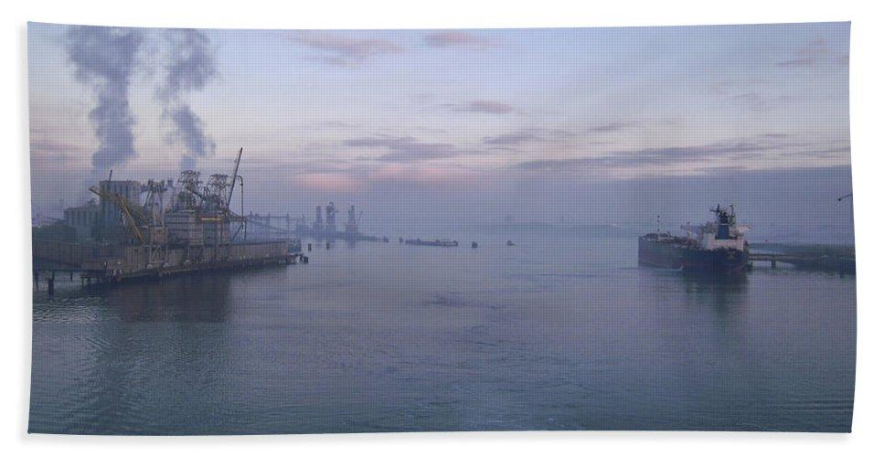 Aqua Bath Sheet featuring the photograph Industrial by Svetlana Sewell