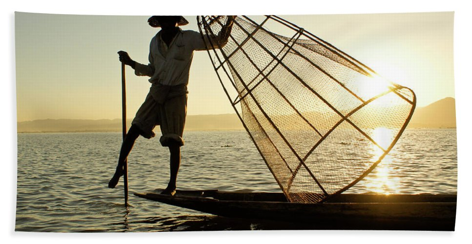 Asia Hand Towel featuring the photograph Inle Lake Fisherman by Michele Burgess