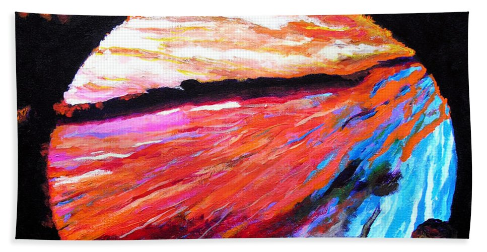 Abstract Bath Towel featuring the painting Inspire Three by Stan Hamilton