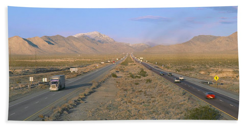 Photography Bath Sheet featuring the photograph Interstate 15, Near Las Vegas, After by Panoramic Images
