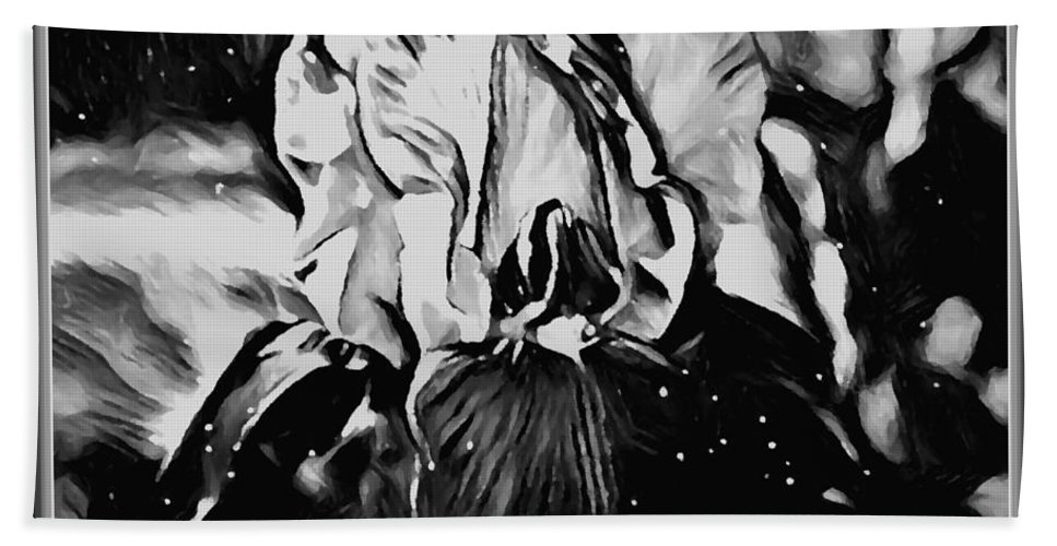 Iris Bath Sheet featuring the mixed media Iris In Black And White by Debra Lynch